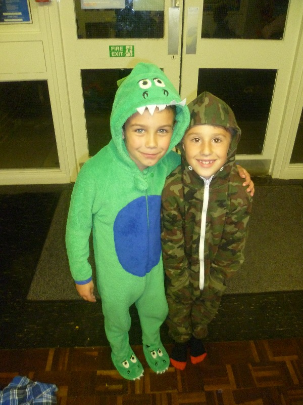 Beavers ready to sleep in their onesies