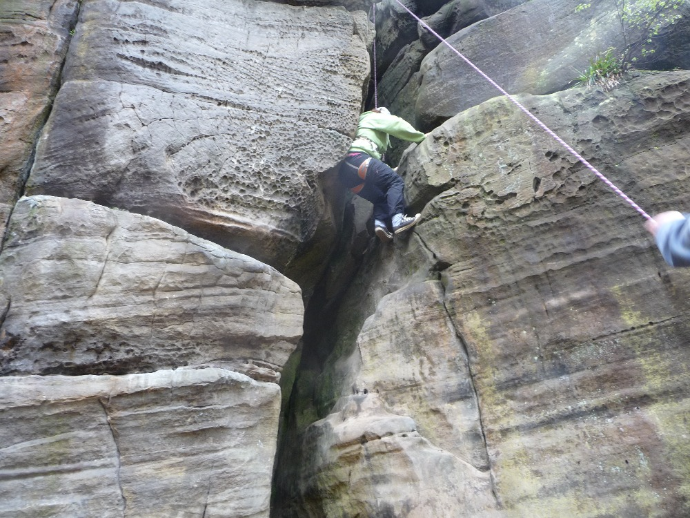 Climbing up the crack